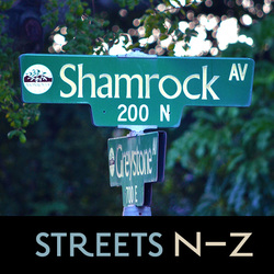Potential Landmarked Homes, Streets N–Z, Picture of Shamrock Ave Street Sign